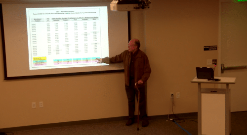 Demographer and enrollment consultant Tom Williams at yesterday's school board meeting.