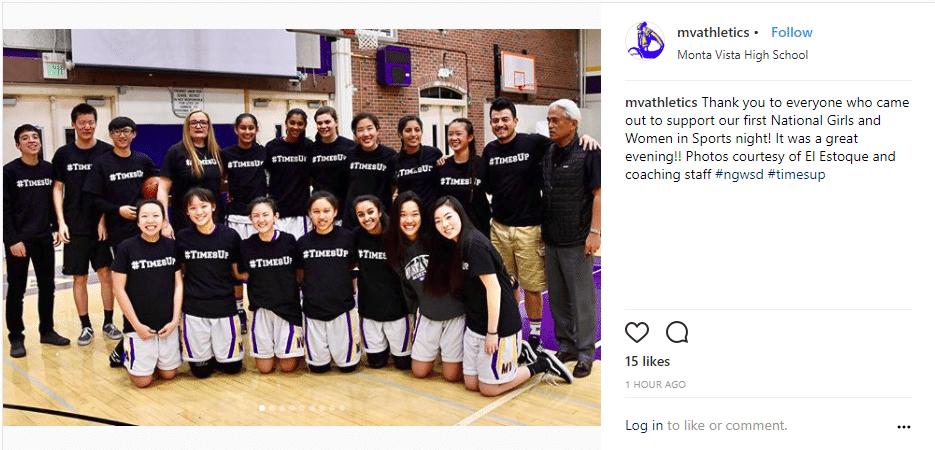 Monta Vista High School Athletics Instagram post after the NGWSD event.