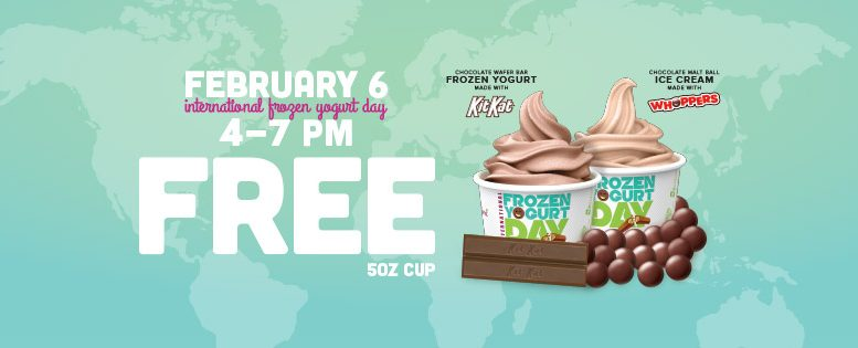 Free 5-ounce cups of frozen yogurt treats in honor of International Froyo Day.