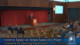 The opening presentation of the second charrette for the Vallco Specific Plan took place on May 21.